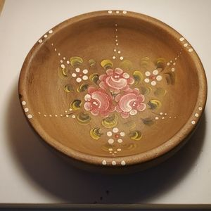 "8"" Handmade/Painted Wooden Bowl Pink White Flowe"
